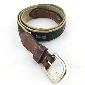 Other - Canvas leather belt bowties bow ties brass buckle